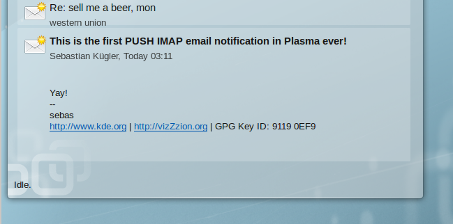 Lion Mail plasma email widget showing an email received via PUSH IMAP