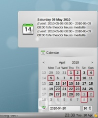 Plasma's calendar displaying calendaring info from Akonadi