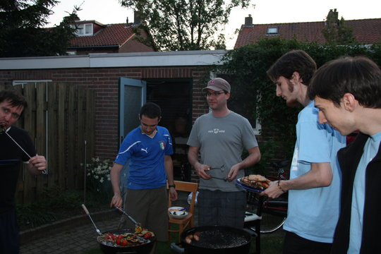 BBQ, yes, that's a Brazilian taking care of the veggie grill.
