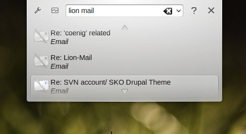 Emails now also in the desktop search