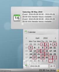 Plasma's calendar displaying calendaring info from Akonadi