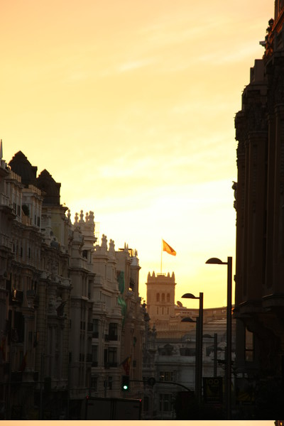Madrid's Gran Via, early morning