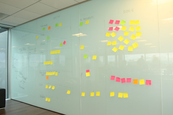Solid Kanban Wall, the tasks being worked on on sticky notes.