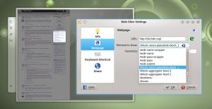 Während der Konfiguration schaltet das Web-Scheibchen Widget in den Übersichtsmodus